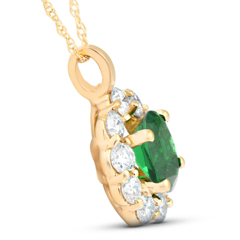 1 3/4ct Emerald & Genuine Diamond Halo Pendant 14K Yellow Gold