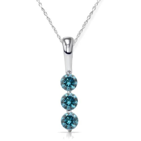 "1/4Ct 3-Stone Treated Blue Diamond Petite Pendant 10K White Gold 1/2"" Tall"
