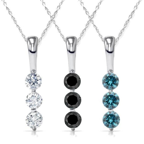 "1/4Ct 3-Stone Diamond Petite Pendant 10K White Gold 1/2"" Tall (White/Black/Blue)"