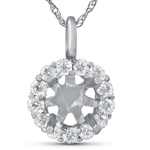 1/3ct Diamond Halo Pendant Mounting Fits 5.5-6.5mm Round Stone 14k White Gold