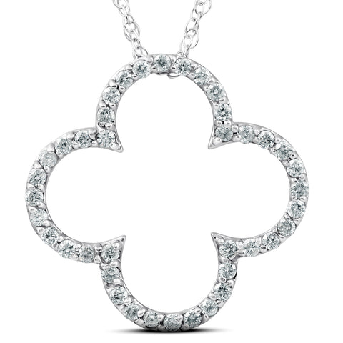 .40 Ct Diamond Clover Designer Pendant 14k White Gold