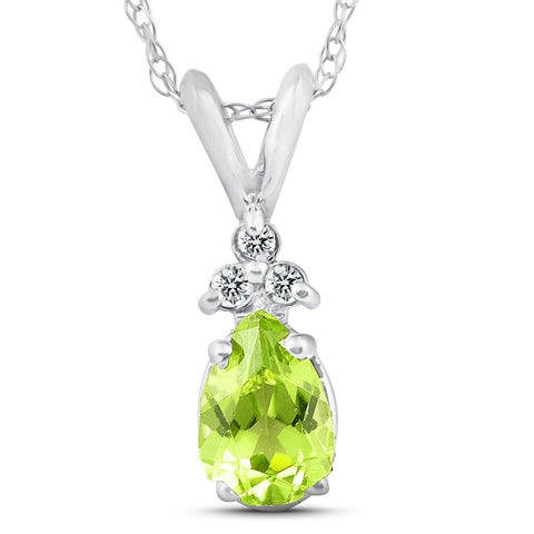 "1/2ct Pear Peridot & Diamond Solitaire Pendant 14K White Gold 18"" Chain Included"