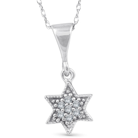 14K 1/15ct Pave Star Of David Diamond Dangle Pendant