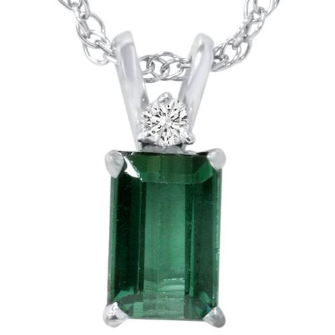 5/8ct Green Tourmaline & Diamond Solitaire Pendant 14K White Gold
