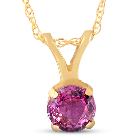 1/2ct Ruby Solitaire Pendant 14K Yellow Gold