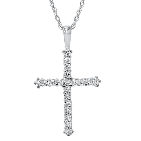 1/2ct Diamond Cross Pendant 14K White Gold 1""