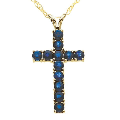 "1 1/5 Ct Genuine Blue Sapphire Cross Pendant Necklace 18"" Yellow Gold 1"" Tall"