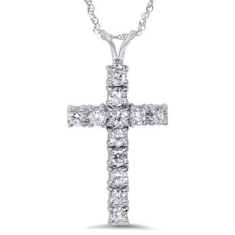 "1 Ct Diamond Cross Pendant Necklace 18"" 14k White Gold"