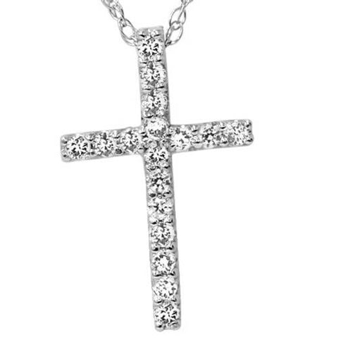 "1/10ct Diamond Cross Pendant 10K White Gold 1/2"" Tall"