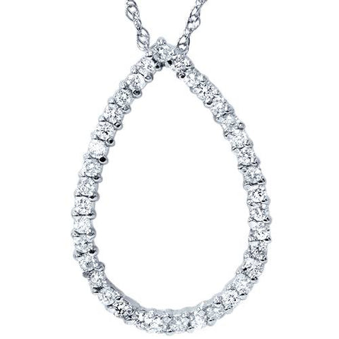 "1ct Pear Shape Diamond Pendant 14k White Gold 18"" Chain"