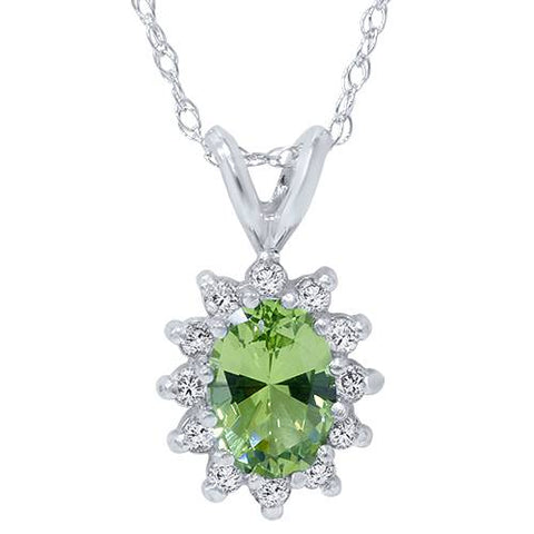 1 1/6ct Oval Peridot Halo Diamond Pendant 14K White Gold