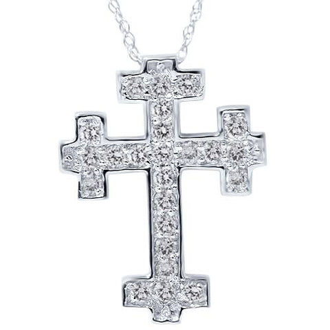 "1/2ct Diamond Cross Pendant Solid 14K White Gold 3/4"" Tall"