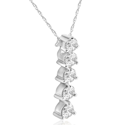 1 1/4ct 5-Stone Round Diamond Journey Pendant White Gold Womens Necklace Jewelry