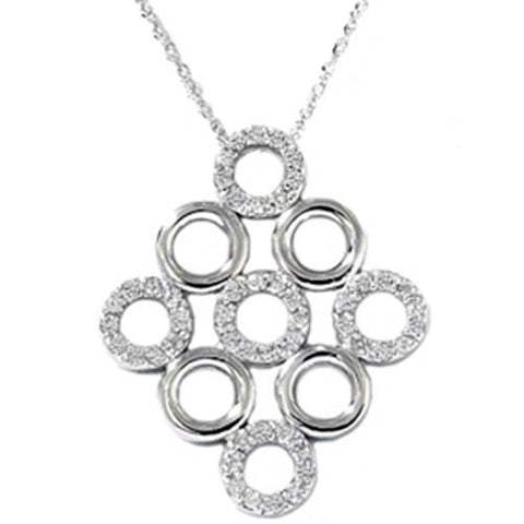 14K White Gold 1/3ct Fancy Circles Pave Diamond Pendant