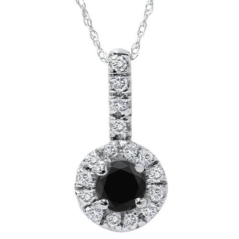 3/4ct Black & White Halo Diamond Pendant 14K White Gold