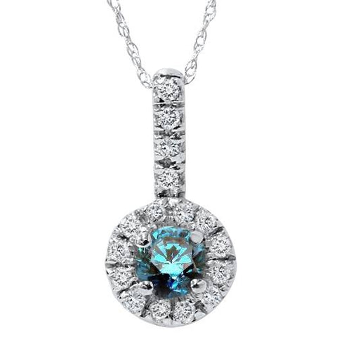 1/2ct Treated Blue Halo Diamond Solitaire Pendant 14K White Gold