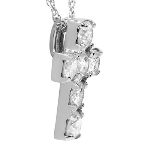 "1ct Diamond Cross Pendant 14K White Gold 1/2"" Tall"