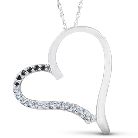 1/6ct Black& White Diamond Heart Pendant Solid 10K White Gold
