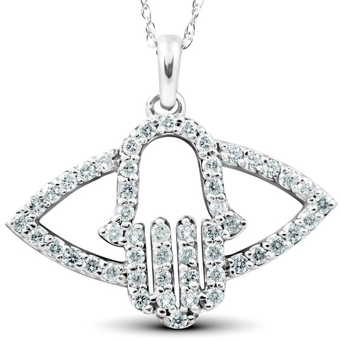 1/2 Ct Diamond Hamsa Evil Eye Hand Pendant 14k White Gold