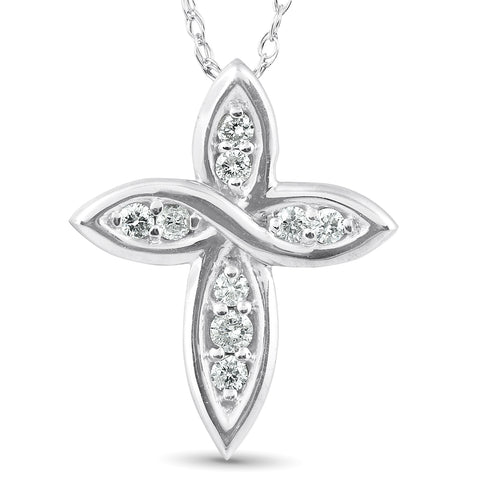 "1/10 Ct Diamond Cross 14k White Gold 5/8"" Tall"