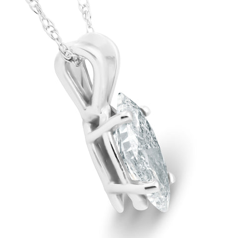 1/2ct Fancy Marquise Diamond Solitaire Pendant 14K White Gold