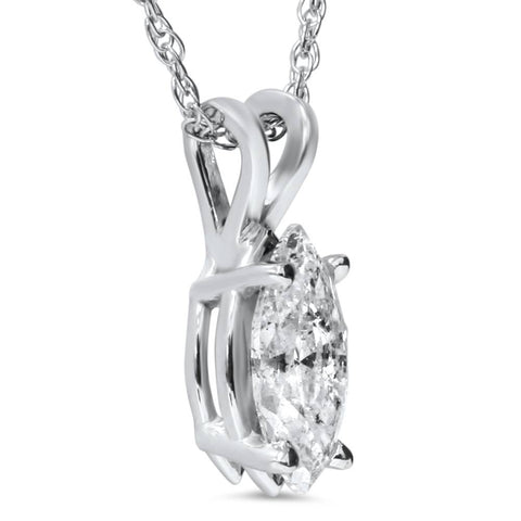 1 ct Fancy Marquise Enhanced Diamond Solitaire Pendant 14k White Gold
