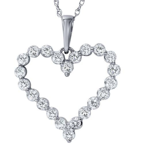 3/4ct Diamond Heart Pendant Solid14K White Gold