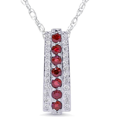 "1 1/2ct Ruby & Diamond Pendant 14 Karat White Gold 1"" Tall"