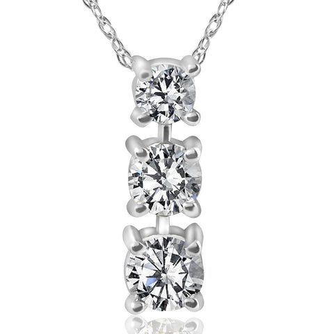 1/2ct 3-Stone Diamond Pendant 14k White Gold