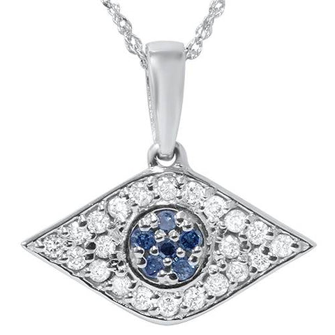 "1/4ct Treated Blue & White Diamond Evil Eye Pendant 14K White Gold W/ 18"" Chain"