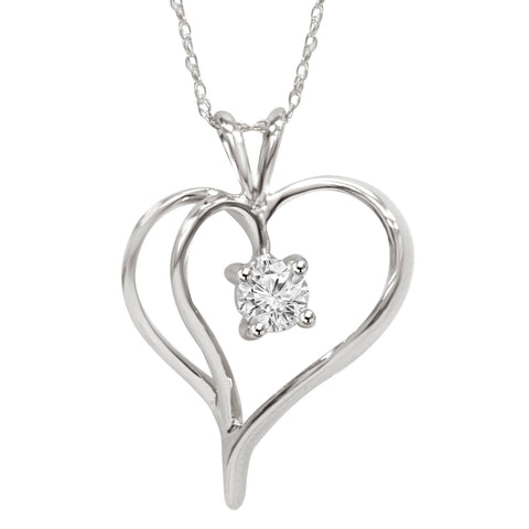 "1/3Ct Solitaire Round Diamond Heart Pendant & Chain 14K White Gold 1"" Tall"