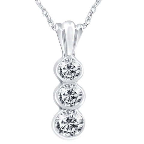 1/2ct Bezel 3 Stone Diamond Pendant 14K White Gold