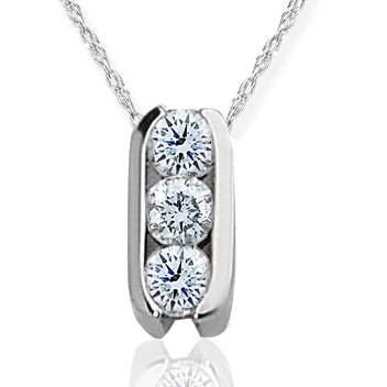 1/2ct Three Stone Diamond Pendant 14K White Gold
