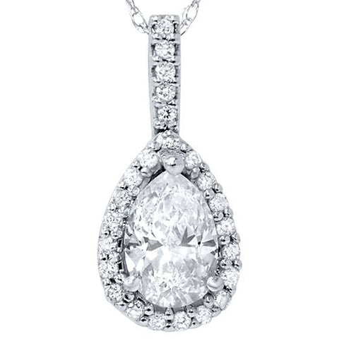 1ct Fancy Pear Shape SI Diamond White Gold Pendant