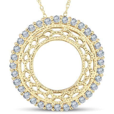 1/2ct Vintage Diamond Circle Pendant 14K Yellow Gold