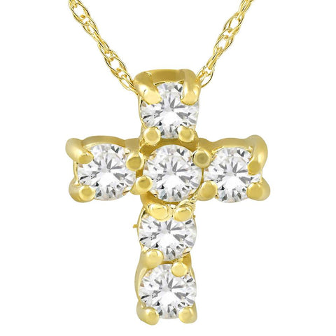 "1/2Ct Diamond Petite Cross & Chain 1/2"" Tall"