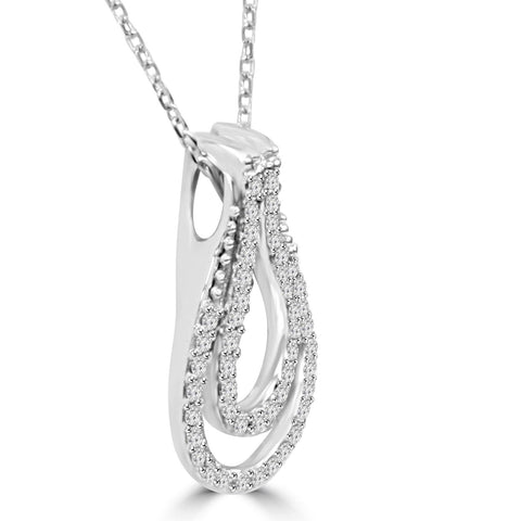 "1/4Ct Diamond Everlong Knot Pendant 10K White Gold & 18"" Chain 3/4"" Tall"