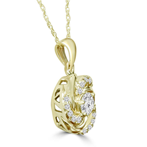 1/2Ct Diamond Vintage Solitaire 1/3Ct Center Braided Pendant 14K Yellow Gold