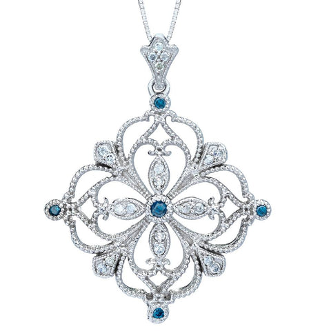 1/2ct Treated Blue & White Diamond Filigree Vintage Diamond Pendant 14K Gold