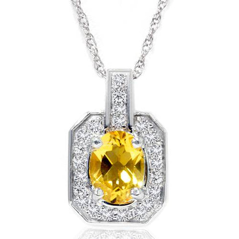 1 1/2ct Citrine & Diamond Solitaire Halo Pendant 14K White Gold