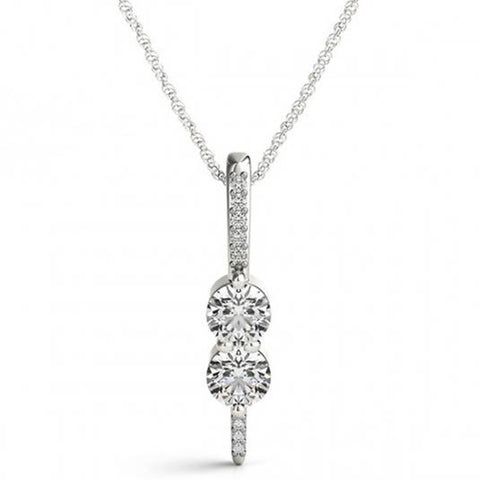 "Forever Us 2 Stone Genuine Diamond Pendant 1/2 Carat 10K White Gold & 18"" Chain"