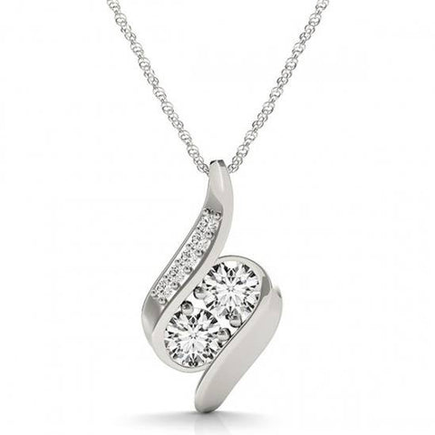 "1ct Forever Us Two Stone Natural Diamond Pendant 10K White Gold & 18"" Chain"
