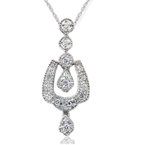 1/3ct Vintage Diamond Dangle Pendant 14K White Gold