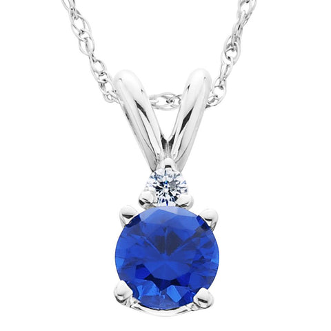 1ct Blue Sapphire & Diamond Solitaire Pendant 14K White Gold
