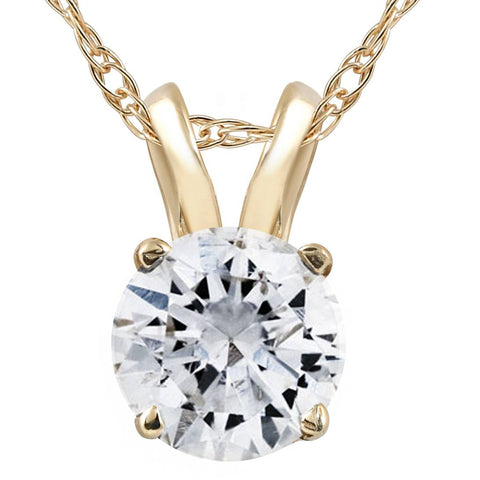 .60Ct Solitaire Round Diamond Pendant Necklace 14K Yellow Gold (I2-I3)
