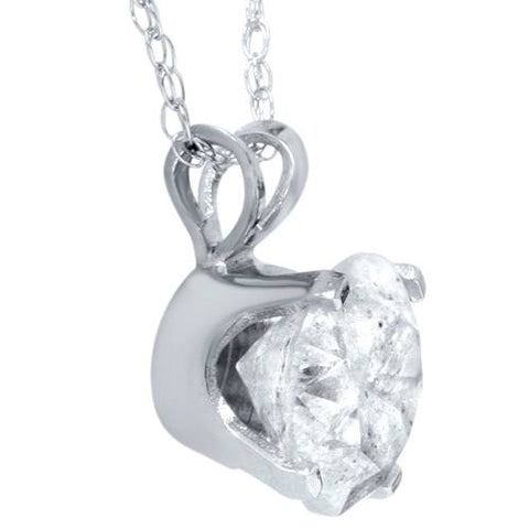 D/I1 1.50 ct Diamond Solitaire Pendant White Gold Round Brilliant Cut Enhanced