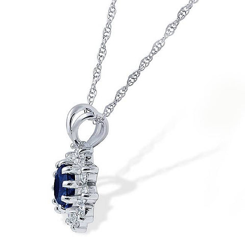 1ct Blue Sapphire & Genuine Diamond Solitaire Pendant 14K White Gold