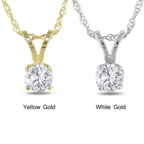 1 1/15ct Round Diamond Solitaire Pendant 14K Yellow Gold