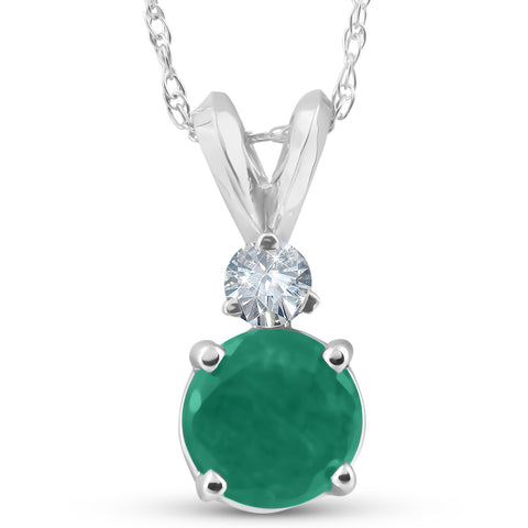 1 1/20ct Genuine Emerald Solitaire Pendant 14K White Gold