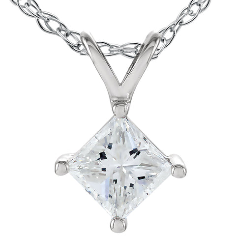 G/SI .50 Ct Princess Cut Solitaire Diamond Pendant 14K White Gold Enhanced